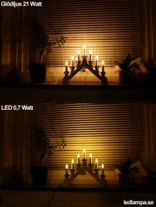 Ljusstake LED jämfört med glödljus